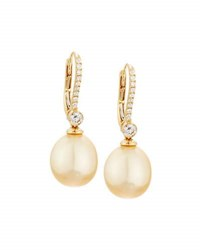 Belpearl 18K Golden South Sea Pearl And Diamond Drop Earrings 0.43Tcw
