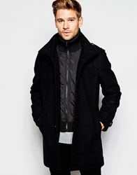 Esprit Overcoat With High Neck And Epaulettes Black