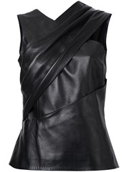 Thierry Mugler Sleeveless Leather Top Black