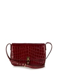 Elizabeth And James Cynnie Crocodile Effect Leather Cross Body Bag Burgundy