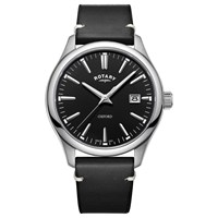 Rotary Men's Oxford Date Leather Strap Watch Black