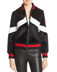 Jocelyn Rabbit Fur Baseball Jacket Black White