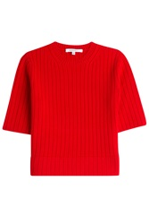 Carven Cropped Wool Top Red