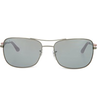 Ray Ban Matte Gunmetal Square Sunglasses With Red Arms And Mirrored Grey Lenses Rb3515 61