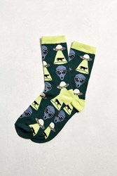 Urban Outfitters Alien Sock Dark Green