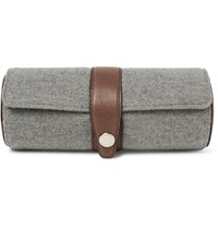 Brunello Cucinelli Leather Trimmed Virgin Wool And Cashmere Blend Watch Roll Gray