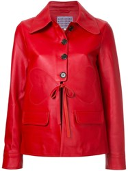 Alexachung Alexa Chung Buttoned Leather Jacket Red