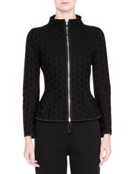 Giorgio Armani Mock Neck Zip Front Jacket Black