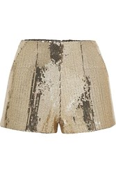 Alex Perry Henderson Sequined Crepe Shorts Gold