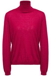 Red Valentino Redvalentino Woman Point D'esprit Trimmed Cashmere And Silk Blend Turtleneck Sweater Claret