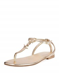 Saint Laurent Monogram Metallic Flat Thong Sandal Gold