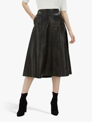 Jaeger Leather Fit And Flare Midi Skirt Black