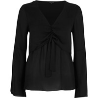 River Island Womens Black Layered Tie Front Blouse