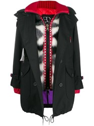 Bazar Deluxe Contrast Hooded Coat Black