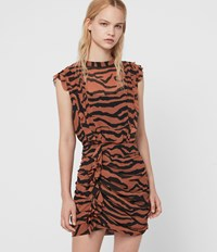 Allsaints Hali Zephyr Dress Toffee Brown Black