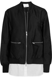 3.1 Phillip Lim Poplin Paneled Satin Twill Bomber Jacket Black