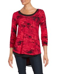 Context Printed Elbow Length Top Crimson Scarlet