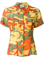 Moschino Vintage Camouflage Shirt Yellow And Orange