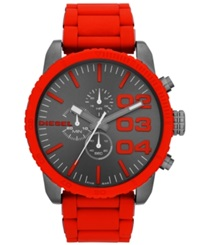 Diesel Watch Men's Chronograph Red Silicone Wrapped Stainless Steel Bracelet 52Mm Dz4289
