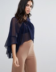 Love Mesh Top With Frill Detail Navy