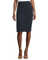 Milly Stretch Crepe Pencil Skirt W Side Slit Navy