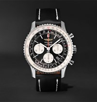 Breitling Navitimer 01 Chronograph 43Mm Stainless Steel And Leather Watch Black