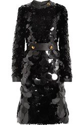 Prada Belted Silk Trimmed Embellished Chiffon Dress Black