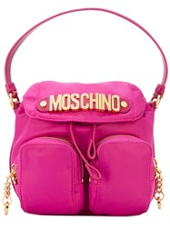 Moschino Fabric Camera Style Logo Plaque Bag Women Cotton Polyamide Polyurethane Metal Other One Size Pink Purple
