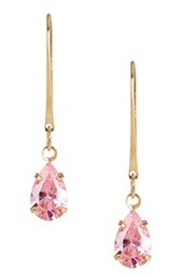Candela 14K Yellow Gold Pink Cz Dangle Earrings