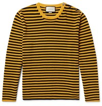 Gucci Button Embellished Striped Cotton Sweater Yellow