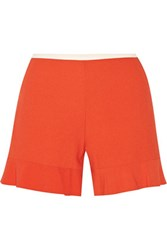 See By Chloe Fluted Stretch Crepe Shorts Orange