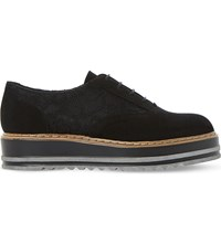 Dune Flatform Suede And Lace Oxford Shoes Black Metallic