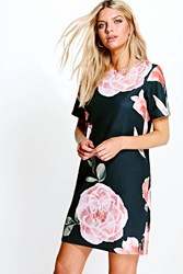 Boohoo Floral Cap Sleeve Shirt Dress Black