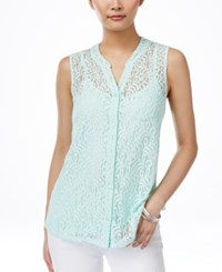 Styleandco. Style And Co. Petite Lace Button Front Blouse Only At Macy's Mystic Aqua