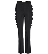 Givenchy Ruffled Crepe Trousers Black
