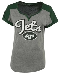 5Th And Ocean Women's New York Jets Rolled Sleeve T Shirt Gray Green