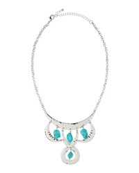 Fragments For Neiman Marcus Hammered Howlite Statement Necklace Silver Turquoise