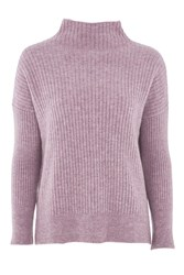 Topshop Petite Oversized Rib Funnel Knitted Jumper Lilac