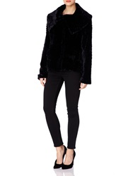 Yumi Fur Fold Over Jacket Black