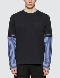 Sacai Zipped Sleeves T Shirt Blue