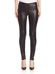 Theory Adbelle Leather Leggings Garnet Black