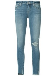 Paige Distressed Cropped Jeans Blue