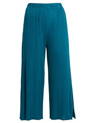 Issey Miyake Side Split Wide Leg Pleated Cropped Trousers Blue