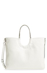 Steve Madden Pin Stud Faux Leather Tote White