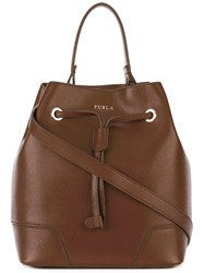 Furla Bucket Bag With Drawstring Fastening Brown