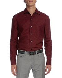 Berluti Dot Print Long Sleeve Linen Shirt Burgundy Red