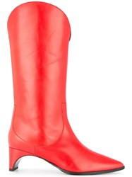 Pierre Hardy Knee High Boots Red