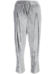 Andrea Ya'aqov Cropped Track Pants Nylon Viscose L Grey