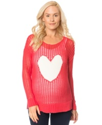 Motherhood Maternity Pointelle Knit Heart Sweater Red White