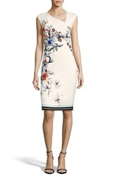 Eci Floral Asymmetric Sheath Dress Ivory Multi